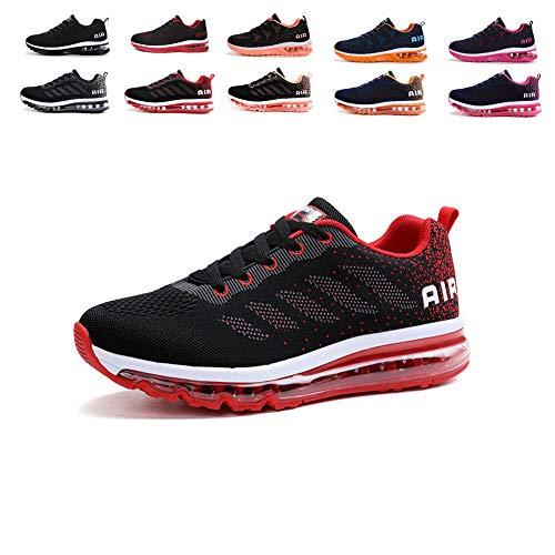 Damen Sportschuhe Herren Laufschuhe mit Luftpolster Turnschuhe Sneakers Leichte Sport Schuhe Outdoor Trainers Black Red 41 EU