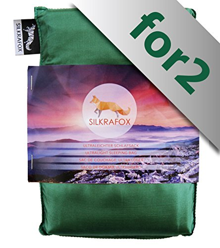 Silkrafox for 2 - Saco de Dormir Ultraligero para Las excursiones de Senderismo, 150 cm de Anchura es Espacio Suficiente, los Viajes, Las acampadas, Seda Artificial, Verde