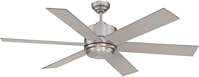 "Savoy House 60-820-6SV-SN Velocity 60"" Ceiling Fan in Satin Nickel"