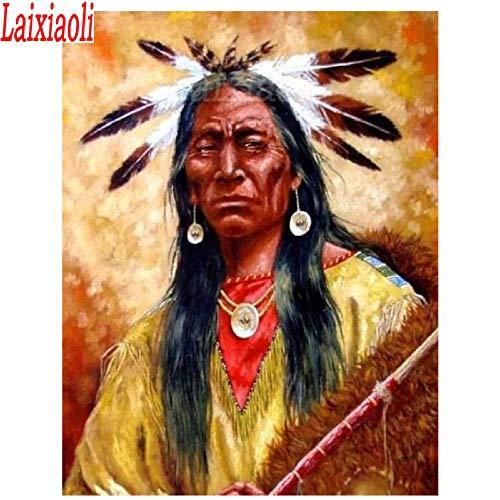 Mssdezb DIY 5D volledige diamant schilderij borduurwerk indiaanse man mozaïek ronde kruis steek Amerikaanse Home Decor 40X50Cm (16x20inch)
