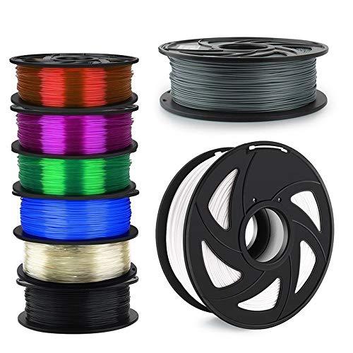 WANGZHI 3D Printer Filament 1.75mm 1KG PLA ABS Nylon Wood TPU PETG Carbon ASA PC 3D Plastic Printing Filament (Color : Free, Size : PETG)
