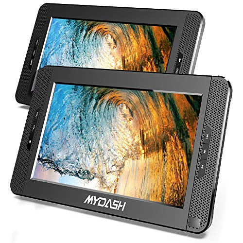 """MYDASH 10.1"""" Dual Screen Portable DVD Player for Car, Headrest Kids CD DVD Player with Built-in 5 Hrs Rechargeable Battery and Bracket,Supports USB/SD Card Playback and Last Memory(1 Player+1 Monitor)"""