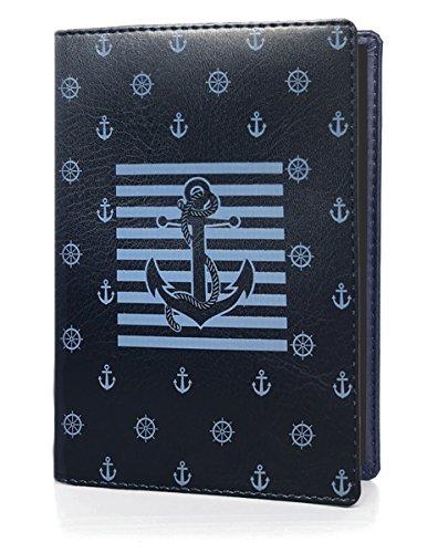 OPTEXX RFID - Custodia per passaporto certificata TÜV e zerificata, motivo ancora marina, in pelle Vegi