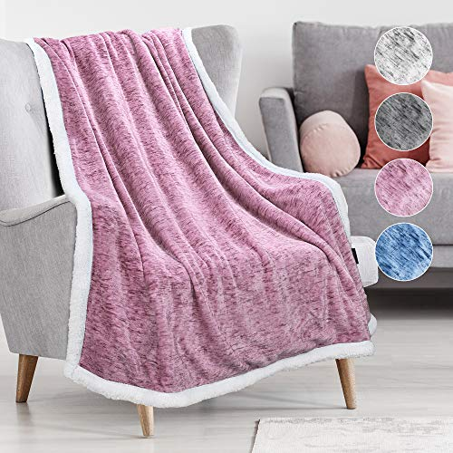 Catalonia Classy Melange Sherpa Throw Blanket,Super Soft Fluffy Fuzzy Comfy Velvet Plush Fleece TV Blankets and Throws for Sofa Couch Bed for Adults Child, 150 x 130 cm Pink