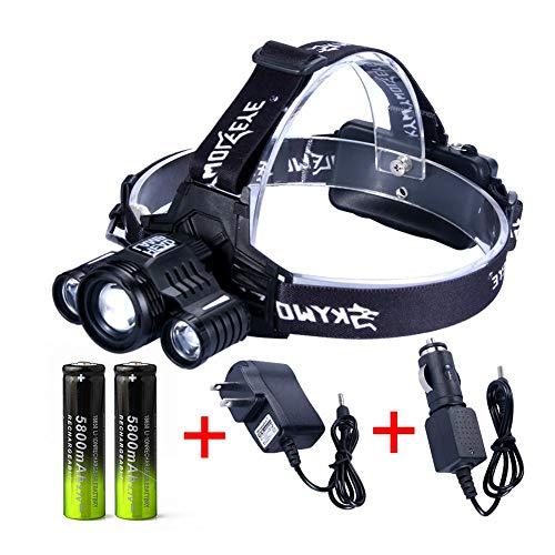 blue-yan LED Outdoor Scheinwerfer Taschenlampe Scheinwerfer Wiederaufladbare IPX66 Wasserdichte 1000 Lumen Hohe Helle Scheinwerfer Taschenlampe Für Schutzhelm Camping Laufen Angeln