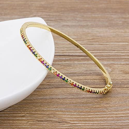 SONGK Charm Rainbow Bangles Cobre Zirconia Rhinestone Brazalete Brazalete Regalo de joyería de Moda para Mujeres y niñas