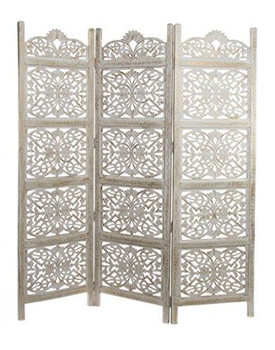 Hogar y Mas Biombo Blanco con pátina Dorada de Madera Natural para Dormitorio-salón 3 Paneles para Separar ambientes