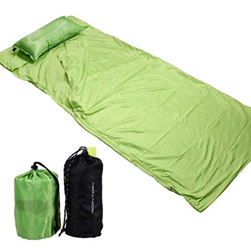 RoryTory Portatile Cuscino Gonfiabile da Campeggio con Sacco a Pelo Liner Set, Green