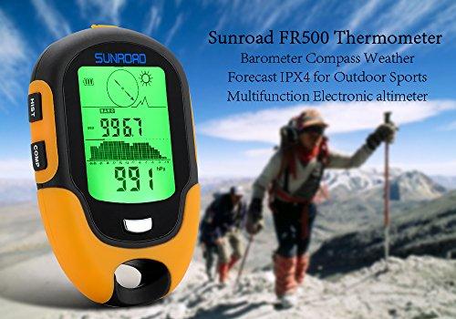 Sunroad FR500 - Appareil multifunction / Altimètre / Baromètre / Boussole / Thermomètre / Hygromètre / Lampe LED / IPX4