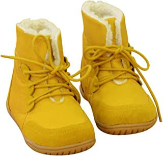 Hopscotch Boys and Girls PU Solid Lace Ankle Length Boot in Yellow Color