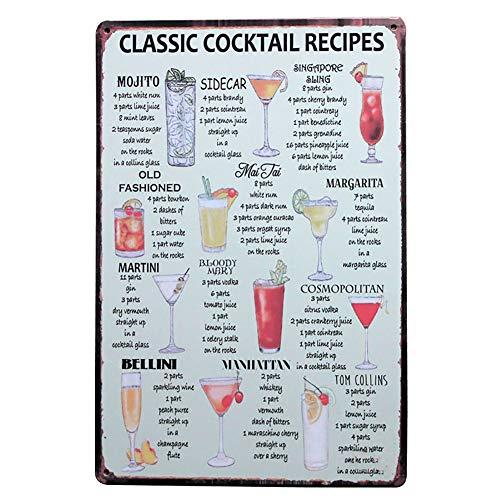 Lumanuby 1x 'Classic Cocktail Recipes' Metall Plakat für die Bar Bunt Wandposter von Mehrere Arten von Cocktails Name und Bild Wand Deko für Pub Club oder, Bar Sprüche Serie Size 20x30cm