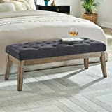 24KF Upholstered Tufted Bench with Solid Wood Leg,Ottoman with Padded Seat-Midnight