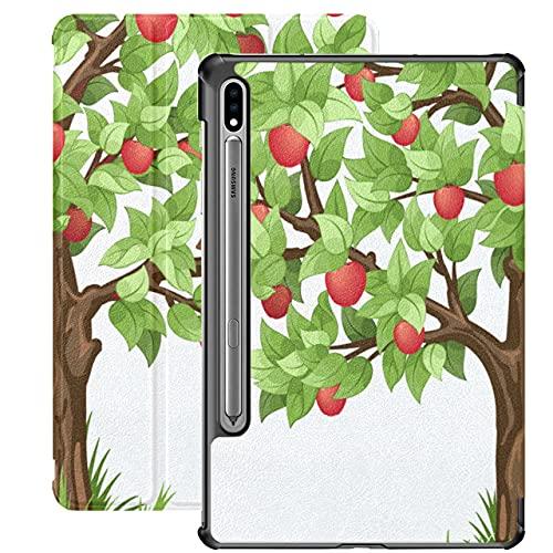 Apple Tree Grow Tree Cartoon Funda para Tableta para Samsung Galaxy Tab S7 / s7 Plus Samsung Galaxy Tab S7 Plus Funda con Soporte Funda Trasera Galaxy Tab S7 Plus Funda 2020 para Galaxy Tab