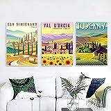 Impresión de arte Vintage pintura Italia Toscana carteles e impresiones retro viajes ciudades paisaje pared arte imagen dormitorio 50x70cmx3 sin marco