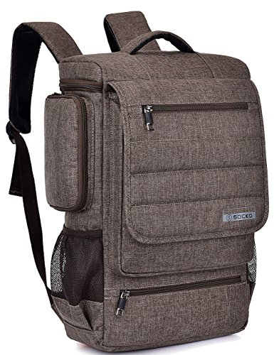 SOCKO Laptop Backpack 17.3 Inch Multifunctional Unisex Luggage Travel Bag Knapsack Water Resistant Rucksack Backpack Hiking Bag College Shoulder Backpack Fits Up to 17-17.3 Inch Laptop Computer,Brown