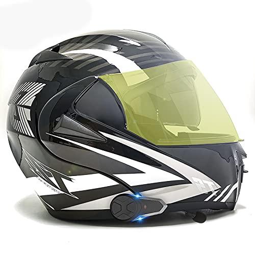 Casco modular Bluetooth para motocicleta, abatible hacia arriba, casco Bluetooth para motocicleta, aprobado por ECE/DOT, modular con doble visera,cara completa para adultos H,M(57~58CM)