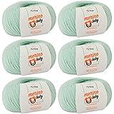 MyOma Babywolle - Merino Baby Mint (Fb 6045) - 6 Knäuel Baby Wolle Mint + GRATIS Label - Babywolle häkeln – Babywolle Merino zum Stricken – 25g/140m– Nadelstärke 2,5-3mm - weiches Babygarn