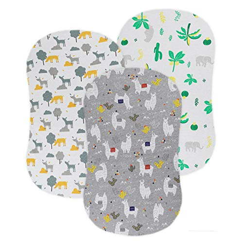 Bassinet Fitted Sheet Set 3 Pack for Boys/Girls - Super Soft Jersey Cotton Sheets Universal for Oval, Rectangle or Hourglass Bassinet Mattress, Llama Deer Elephant Coconut Tree and Leaf Pattern