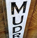 Vertical MUDROOM Sign 40' tall - Carved in a Wood Board Rustic Distressed Shop Advertisement Farmhouse Style Room Wooden Rustic Decoration