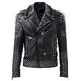 LP-FACON - Giacca in pelle di agnello da motociclista da uomo, con borchie e borchie di Brando, stile rock punk, colore nero Nero XS
