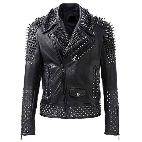 LP-FACON - Giacca in pelle di agnello da motociclista da uomo, con borchie e borchie di Brando, stile rock punk, colore nero Nero L