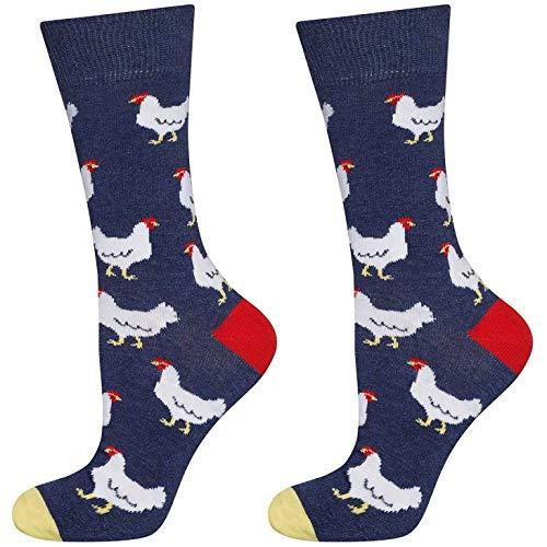 soxo Herren Bunte Muster Socken | Größe 40-45 | Motivsocken aus Baumwolle | Lustige Geschenk für Männer (Hennen)
