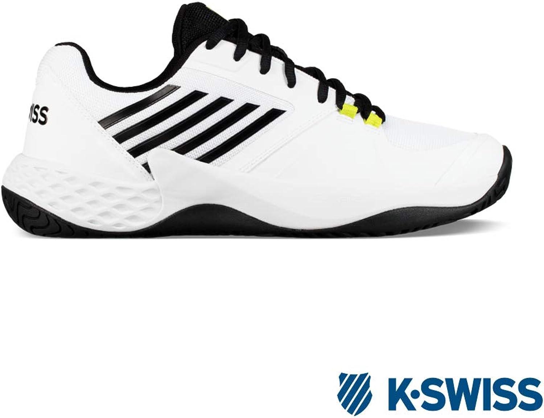 K-Swiss Aero Court White Black Neon Yellow 8.5 UK, Men, White Black Yellow, 42.5 EU