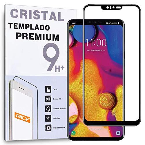 REY - Protector de Pantalla Curvo para LG V40 THINQ, Negro, Cristal Vidrio Templado Premium, 3D / 4D / 5D