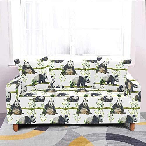 YBFZW Funda De Sofá,Moderno Elástico Verde Verde Bambú Panda Impreso Seta Elástica Slipcover, Anti-Sucio Y Lavable Spandex De Poliéster, Fundas Protectoras De Muebles para Sala De Estar Habitación D