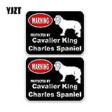 OLUYNG Adesivo per Auto 15 * 11,4 cm 2X Cavalier King Charles Spaniel Cane da Guardia Car Stop Window Sticker Decal C1-4332