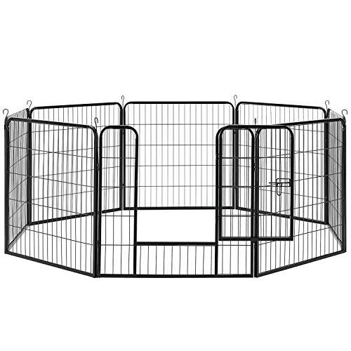 Sam´s Pet Metall Welpenauslauf | verriegelbare Tür | 80 cm | Tierlaufstall für Hunde, Katzen & Kleintiere | Welpenlaufstall Freilaufgehege Laufgitter