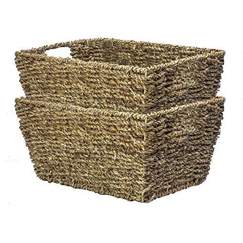 Natürlicher Seegras-Aufbewahrungskorb   Korbkorb   Toilettenpapierlagerung   Umweltfreundlich   Gewebter Korb   Geschenkbox   Unterbettlagerung   M & W (2er-Set)
