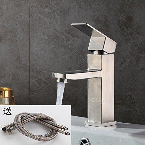 ChengZIAllemagne sortie plate-forme en acier inoxydable 304, sous le robinet du bassin, carré noir chaud et froid, lavabo robinet Haut,Bas 304 (peinture, mat, noir)