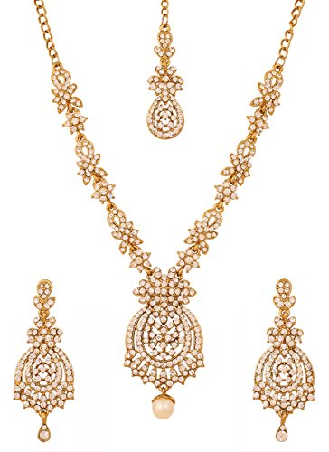 Touchstone Indian Bollywood Floral Inspired Rhinestones Designer Bridal Jewelry Necklace Set for Women in Antique Gold Tone. (White in Antique Gold)