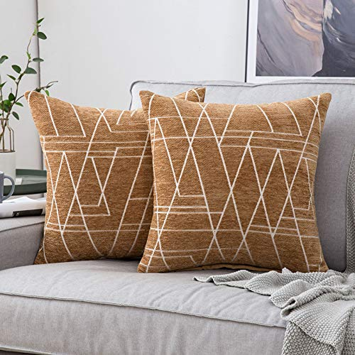 MIULEE 2 Piezas Fundas de Cojines para sofá Gamuza Sintética Almohada Caso de Diseño Geométrico Decorativas Fundas Cojines para Habitacion Juvenil Sofá Comedor Cama 50x50cm Camello