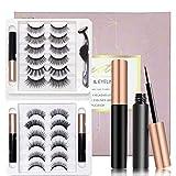 Magnetic Eyelashes with Eyeliner Kit- 3 Tubes of Magnetic Eyeliner & 12 Pairs Magnetic Eyelashes Kit-With Natural Look & Reusable False lashes -No Glue Need