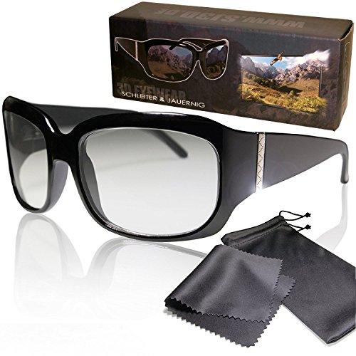 Gafas 3D nobles pasivas para RealD - Alta calidad - Polarizadas circular - Con estuche y paño de microfibra - Compatible con Cinema 3D de LG, Easy 3D de Philips, televisores 3D con polarización circular de Toshiba, Grundig, Sony, Panasonic y RealD en los cines - No Gafas 3D activas - No Active Shutter