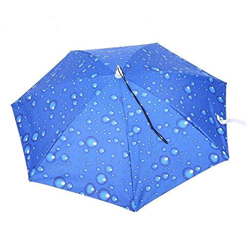 Mumusuki Regenschirmhut Handfreier Hut, 77 cm Sonnenschutz Winddichter, am Kopf montierter Regenschirm Top Falthut Regenschirm zum Angeln Gartenhof Wandern im Freien(Regentropfen blau)