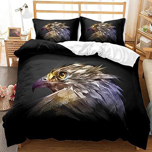 Juego de Cama,Funda nórdica 135x200 cm águila Animal Microfibra Funda Edredon con Cierre de Cremallera, 2 Fundas de Almohada 50x75 cm