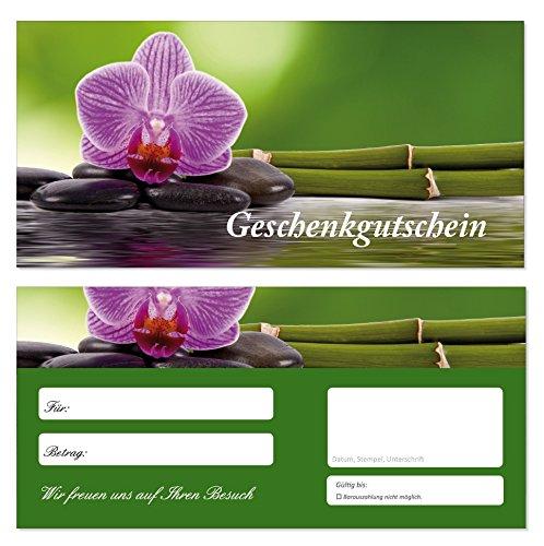 20 Stück Geschenkgutscheine (Orchidee-694) Gutscheine Gutscheinkarten für Bereiche wie Erholung Wellness Spa Urlaub Reisen