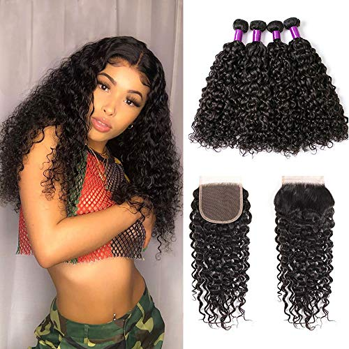 Water Wave Bundles with Closure 100% Virgin Human Hair Wet and Wavy Hair Extension Brazilian Water Wave Hair Bundles Brazilian Virgin Human Hair Lace Closure Wavy Bundles Full End Natural Color