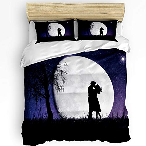 Smile Sunflower The Shadow of Lovers are Kissing Moon Pattern Duvet Cover Set Comfy Twill Plush Bedding Sets,Decorative 3 Pcs Include 1 Duvet Cover and 2 Pillow Shams,King Size
