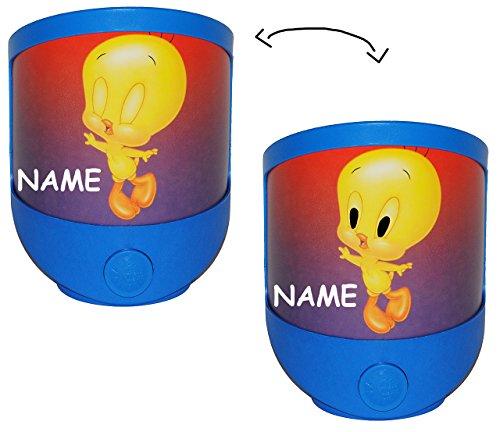 alles-meine.de GmbH 1 STK. Nachtlicht  Baby Looney Tunes  incl. Namen / magisches Licht LED Schlummerlicht mit Schalter - Tweety Bugs Bunny Tiere - Mädchen Jungen Baby - Licht ..