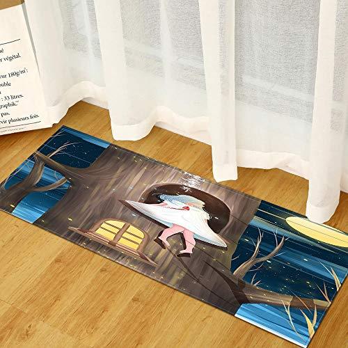 XIAOZHANG Alfombras Franela Suave Niña De La Casa del Árbol Grande De Dibujos Animados Antideslizante Alfombrilla De Baño Sala De Estar Cocina Dormitorio De Interior Exterior 60X180Cm