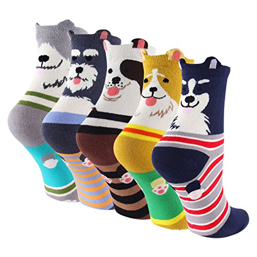 Keaza Womens 5-pack Dog Cotton Winter Warm Crew Novelty Cartoon Socks WZ10