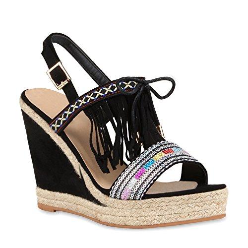 stiefelparadies Modische Damen Strass Sandaletten Bast Pantoletten Wedges Schuhe 112442 Schwarz Bunt Fransen 40 Flandell