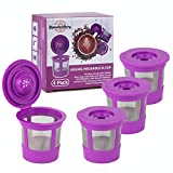 Brew Addicts Reusable K-Cups for Keurig 2.0 & 1.0 Brewers | Eco-Friendly Universal Fit Refillable Single Cup Coffee Filters | Stainless Steel Mesh Filter | Purple (4 Pack)