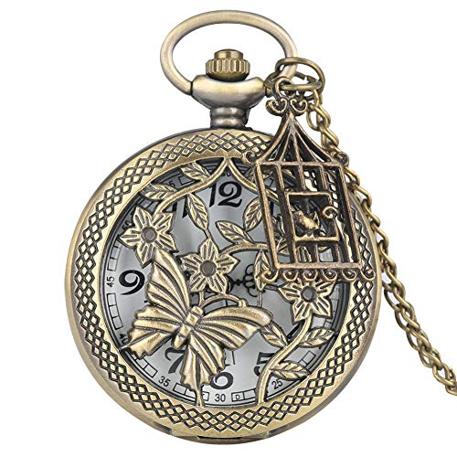 RWJFH Reloj de Bolsillo Bronce y Flor Estilo Retro Collar Reloj de Bolsillo CadenaColgante Reloj de Cuarzo Reloj