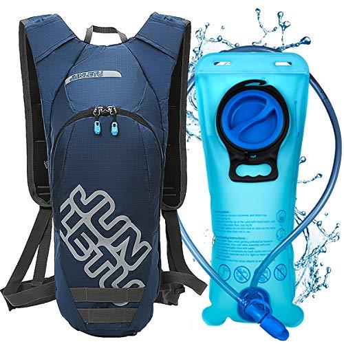 LUROON Mochila de Hidratación con 2L Bolsa de Agua sin BPA, Ligero Portátil Mochila de Correr para Hacer Ejercicio, Escalar, Acampar, Esquiar, Bicicleta, Trekking para Hombres Mujeres (Azul)