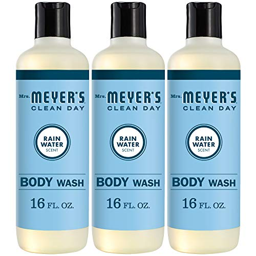 Mrs. Meyer's Clean Day Moisturizing Body Wash for Women and Men, Cruelty Free and Biodegradable Shower Gel Made with Essential Oils, Rain Water Scent, 16 oz Bottle, Pack of 3